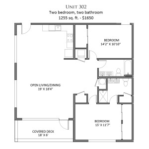 2 br floor plan - Unit 302 - Plan F