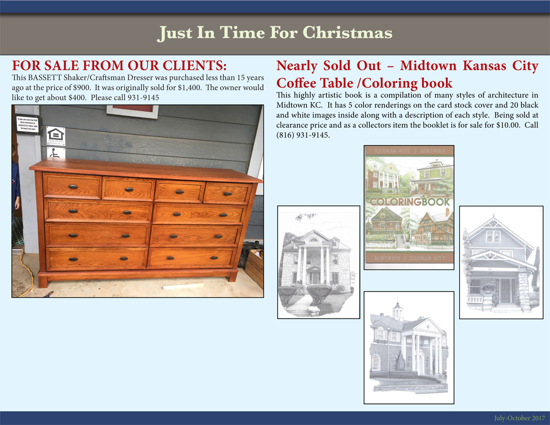 Third page of a newsletter advertising a piece of furniture and a Midtown KC coffee table coloring book
